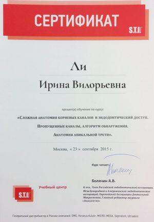 Ли Ирина Вилорьевна Сертификат анатомия корневых каналов